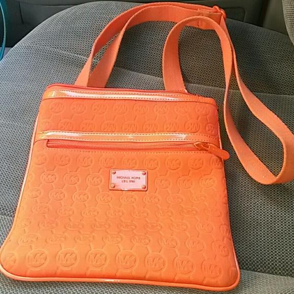 michael kors bags neoprene orange crossbody poshmark rh poshmark com