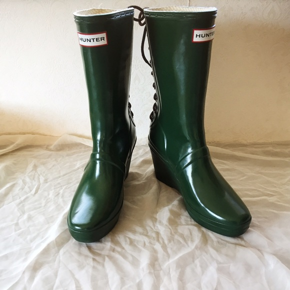c19edd7e4 Hunter Shoes | Verbier Wedge Boots With Lace Up Detail | Poshmark