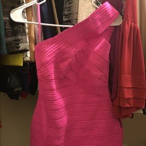 Dresses & Skirts - Hot pink bandage one shoulder dress