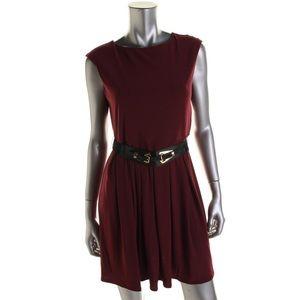 ALFANI  Purple Pleated Wear to Work Dress Petites