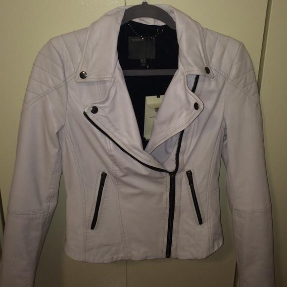 beef0c85a3c6 MUUBAA White 100% Goat Leather Jacket