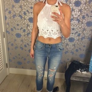 Tops - Brand new white lace crop top