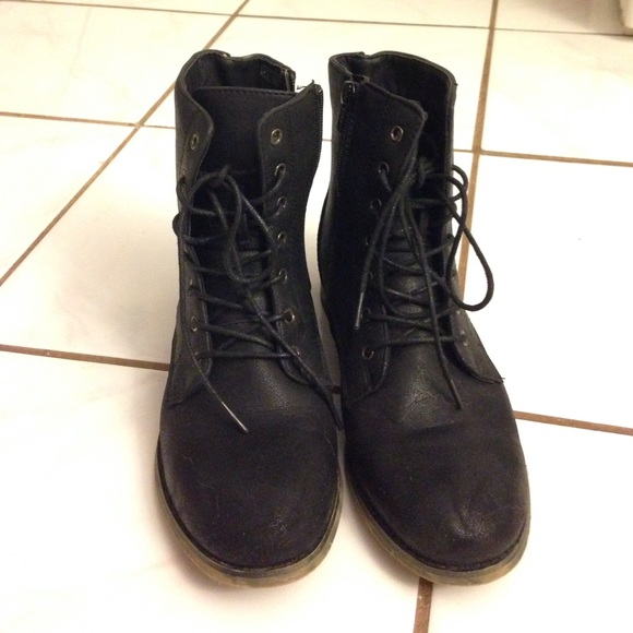 59% off Art Rock Shoes - Simple Black Lace Up Combat Boots from ...