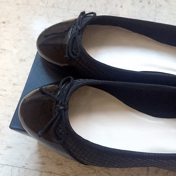 ff974210b0 Cole Haan Shoes | Sarina Black Leather Cap Toe Woven Flats | Poshmark