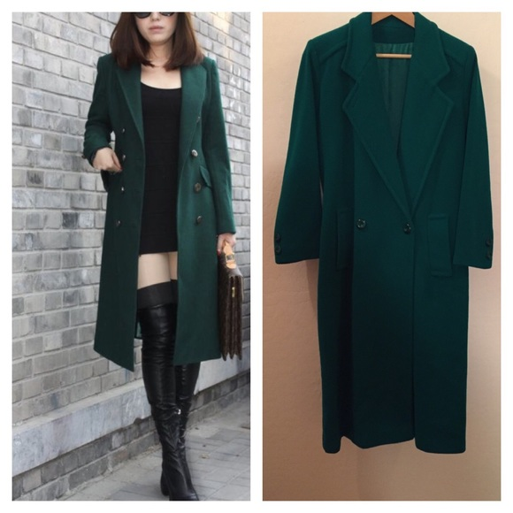 Jackets Coats Emerald Green Long Wool Blend Trench Poshmark