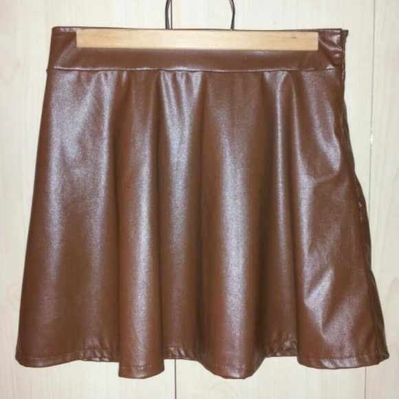 36point5 nwt faux leather brown skater skirt from