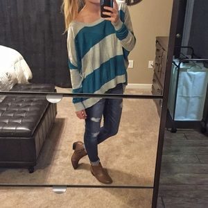 Striped BCBGeneration Long Sleeve Dolman Top