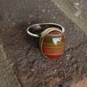 NATURAL AGATE 925 RING