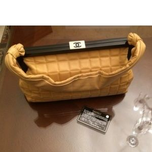 CHANEL Quilted Tan Lambskin Bag Purse camel