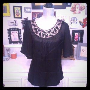 ✂️✂️ Clearance Black silk and chiffon top beading