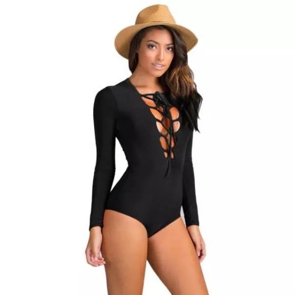 e49bfe6d11 Black criss cross front bodysuit