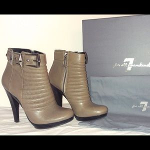 7 for all Mankind grey leather booties