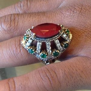 Jewelry - NATURAL RUBY EMERALD TOPAZ RING
