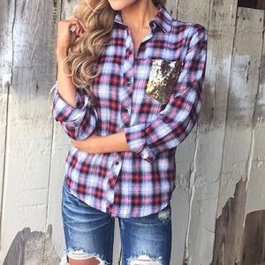 ⭐⭐️️HOST PICK⭐️⭐️ Country glam plaid flannel