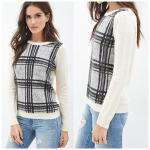 Forever 21 Sweaters - Cream & Black Plaid Front Sweater