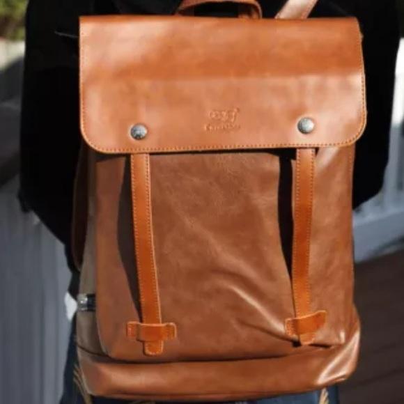 42867af1af7 Brand New Brown Tan Faux Leather Laptop Backpack