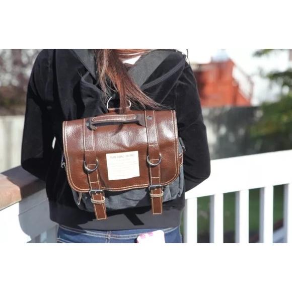 1633730dc Boutique Bags   Last One Canvas Faux Leather Satchel Backpack   Poshmark