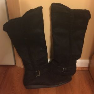 Shoes - black cloth riding boots