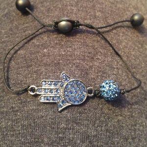Jewelry - Hamsa Hand Bracelet w sparkles. Blue