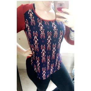 Gilli Tops - {Navy & Rust print top}