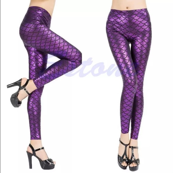 3df54209484 Purple mermaid fish scale leggings pants. NWT.  20  30. Size
