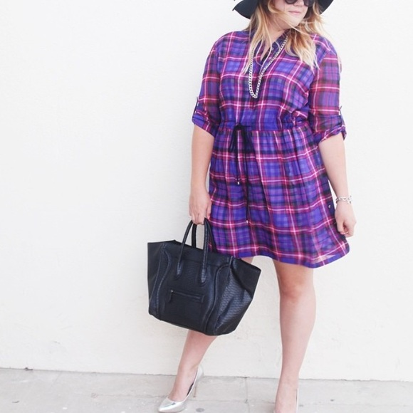 Adrianna Papell Dresses - Purple & Pink Plaid Shirt Dress