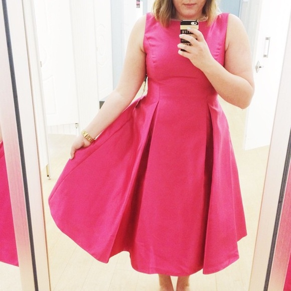 Adrianna Papell Dresses & Skirts - Hot Pink Full Skirt Midi Dress
