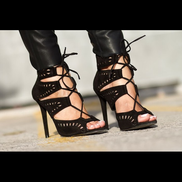 Zara Shoes - Zara black suede caged lace up sandal