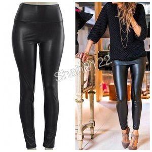 1 hour sale leather leggings faux high waist BLACK
