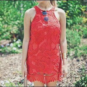 Lovers + Friends Dresses & Skirts - Lovers + Friends Red Lace Dress Size Small