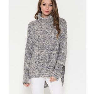 "X ""Lullaby"" Chunky Turtleneck Sweater Top"
