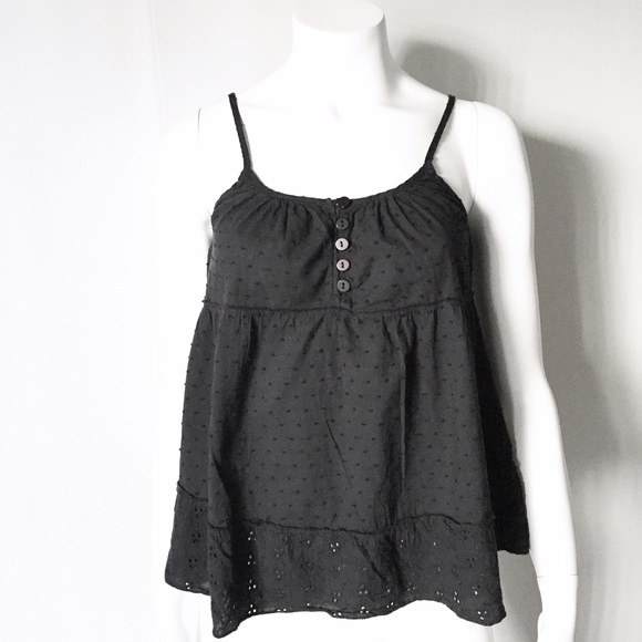 Tops - Black Strap / Tank Top with Soft Puffy Patterns