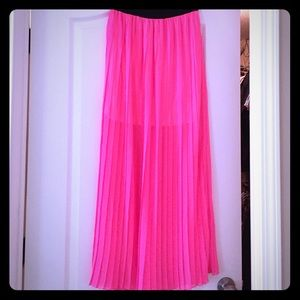 Hot pink pleated sheer maxi skirt