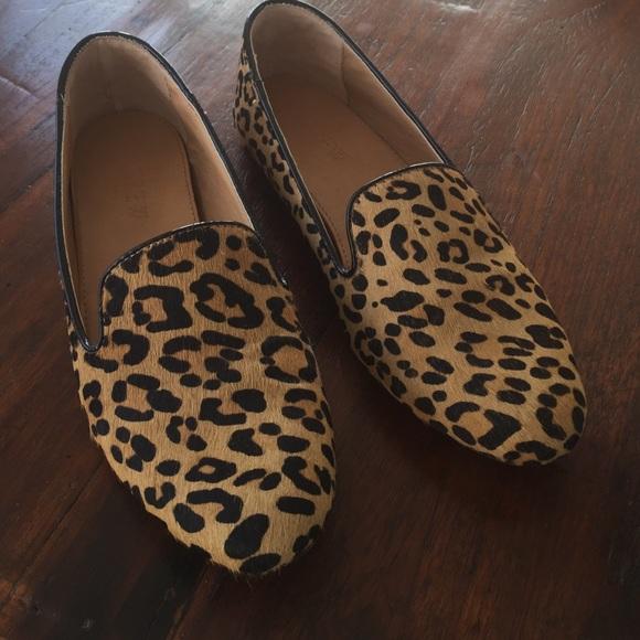 J Crew Leopard Calf Hair Cora Loafer