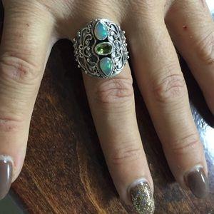 Jewelry - Ethiopian opal & peridot sterling silver ring