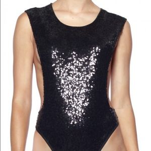 Rehab Tops - BF Sale Rehab Black Sequin Bodysuit Size Small