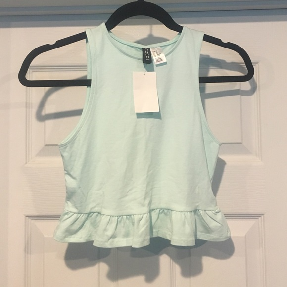 e2c517256bf604 H M mint green ruffle crop top xxs xs 00 0