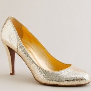 HP J. Crew gold leather pumps