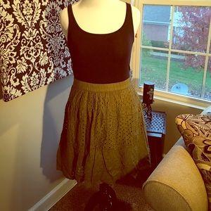 Olive green crochet style skirt