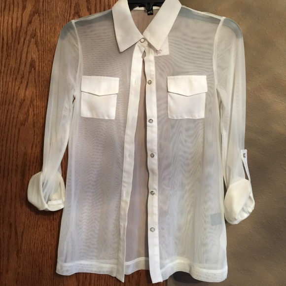 Monteau Tops Sheer White Button Down Shirt Poshmark