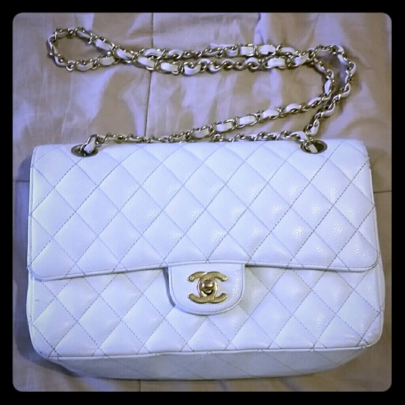 a230efa5283b CHANEL Handbags - Authentic Chanel White Caviar Classic Flap Bag