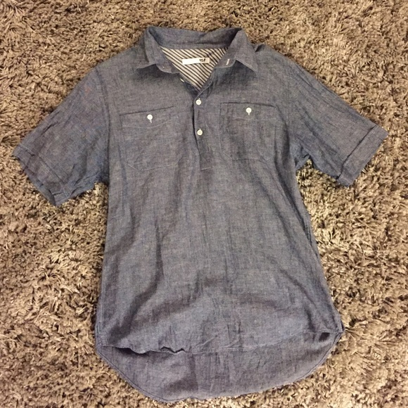 68 off nsf other nsf men 39 s short sleeve chambray for Mens pullover shirts short sleeve