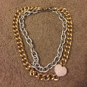 Jewelry - Last chance- double chain and pave heart necklace