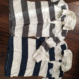 Aeropostale Tops - Grey aero 3/4 sleeve striped collared shirt M