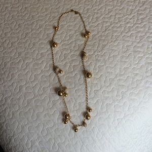 Jcrew gold crystal ball bauble long necklace