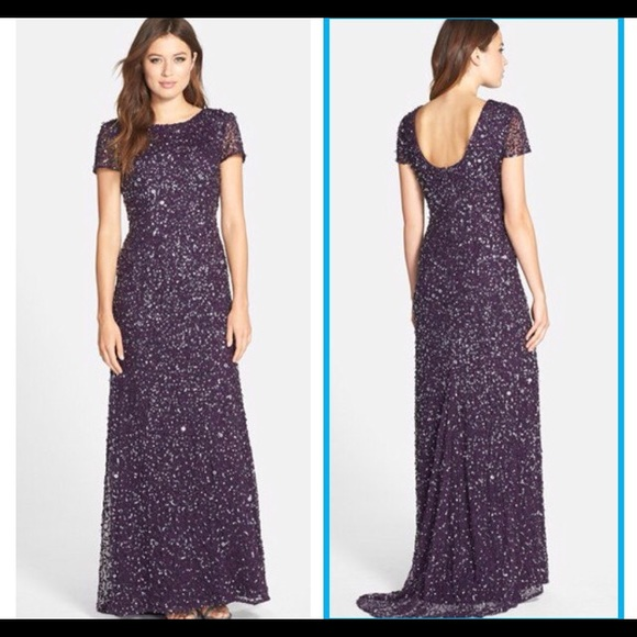 Adrianna Papell Dresses   New Navy Mesh Sequin Gown 14   Poshmark