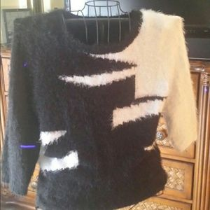 Sweater black and white mohair like knit.