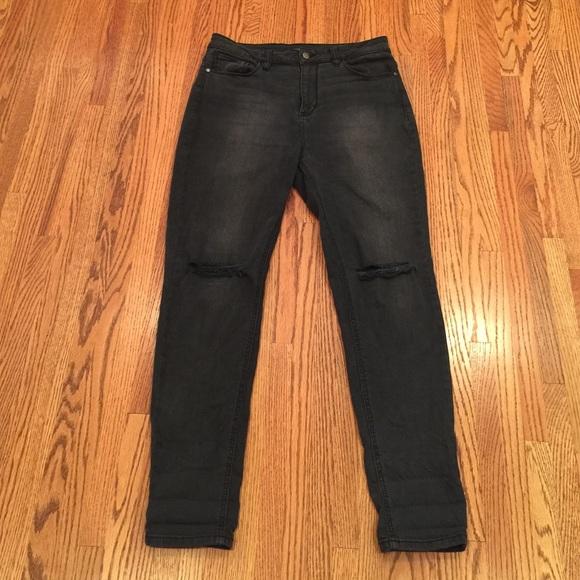 78% off Forever 21 Denim - Forever 21 Black Distressed Jeans Size ...