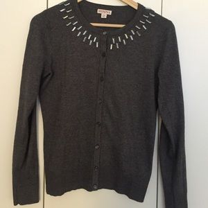 Charcoal grey cardigan with jeweled collar