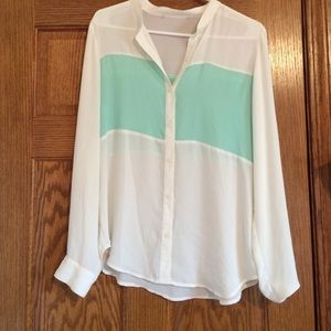 Tops - White and mint button up top